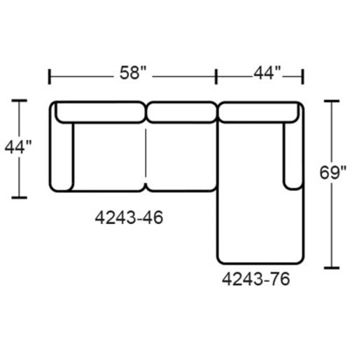 "Layout J:  Two Piece Sectional 102"" x 69"""