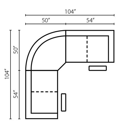 "Layout A:  Three Piece Sectional 104"" x 104"""