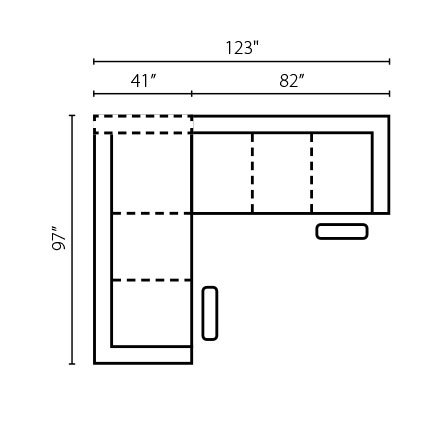 "Layout A:  Two Piece Sectional 97"" x 123"""