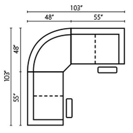 "Layout C:  Three Piece Reclining Sectional 103"" x 103"""