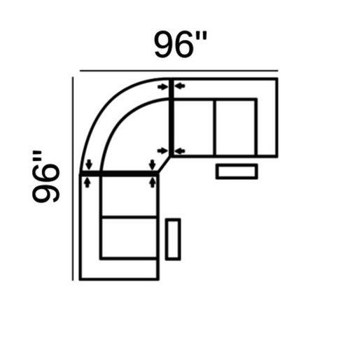 "Layout A:  Three Piece Sectional 96"" x 96"""