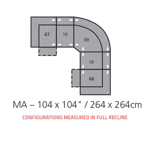 "Layout A: Five Piece Sectional 104"" x 104"""