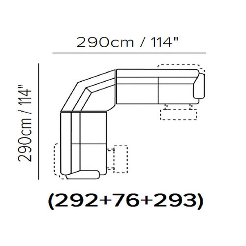"Layout A: 3 Piece Reclining Sectional 114"" x 114"""