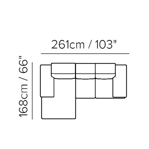 "Sectional Layout A:  Two Piece Sectional (Chaise on Left) 66"" x 103"""
