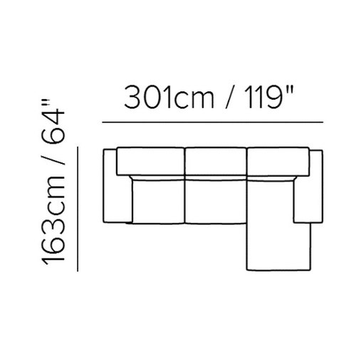 "Layout B:  Three Piece Sectional 119"" x 64"""
