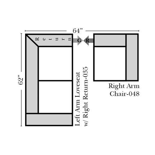 "Two Piece Sectional 62"" x 64"""