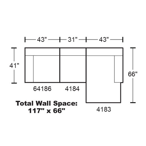 "Layout A: Three Piece Sectional 117"" x 66"""