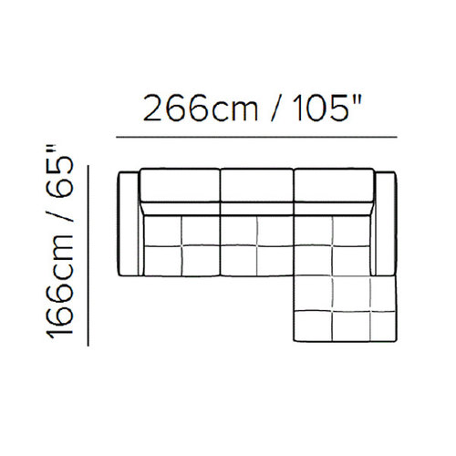 "Layout A:  Two Piece Sectional - 105"" x 65"""