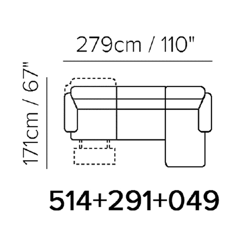 "Layout A:  Three Piece Reclining Sectional (Chaise Right) 110"" x 67"""