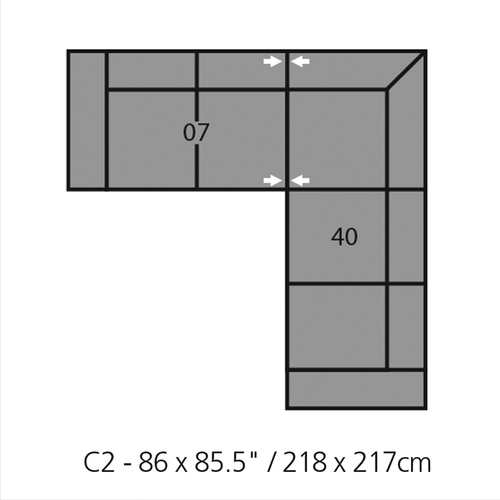 "Layout A: Two Piece Sectional 86"" x 86"""