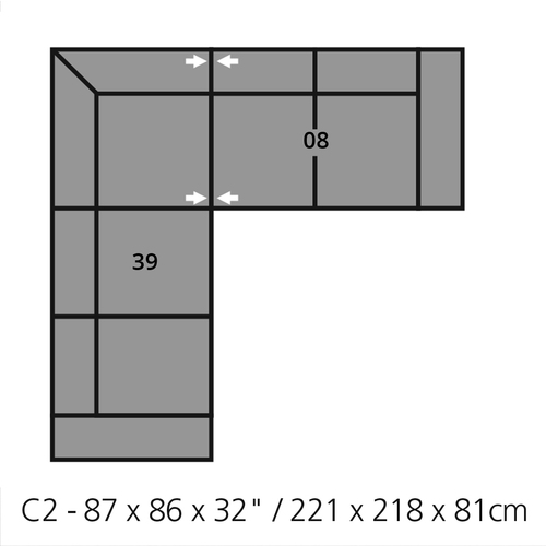 "Layout A: Two Piece Sectional 87"" x 86"""