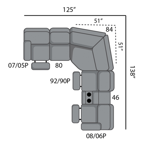 Six Piece Reclining Sectional