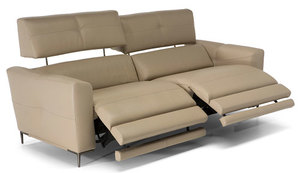 Natuzzi Ebbrezza Top Grain Leather Reclining Sofa w/ Power Headrest and Power Lumbar Support
