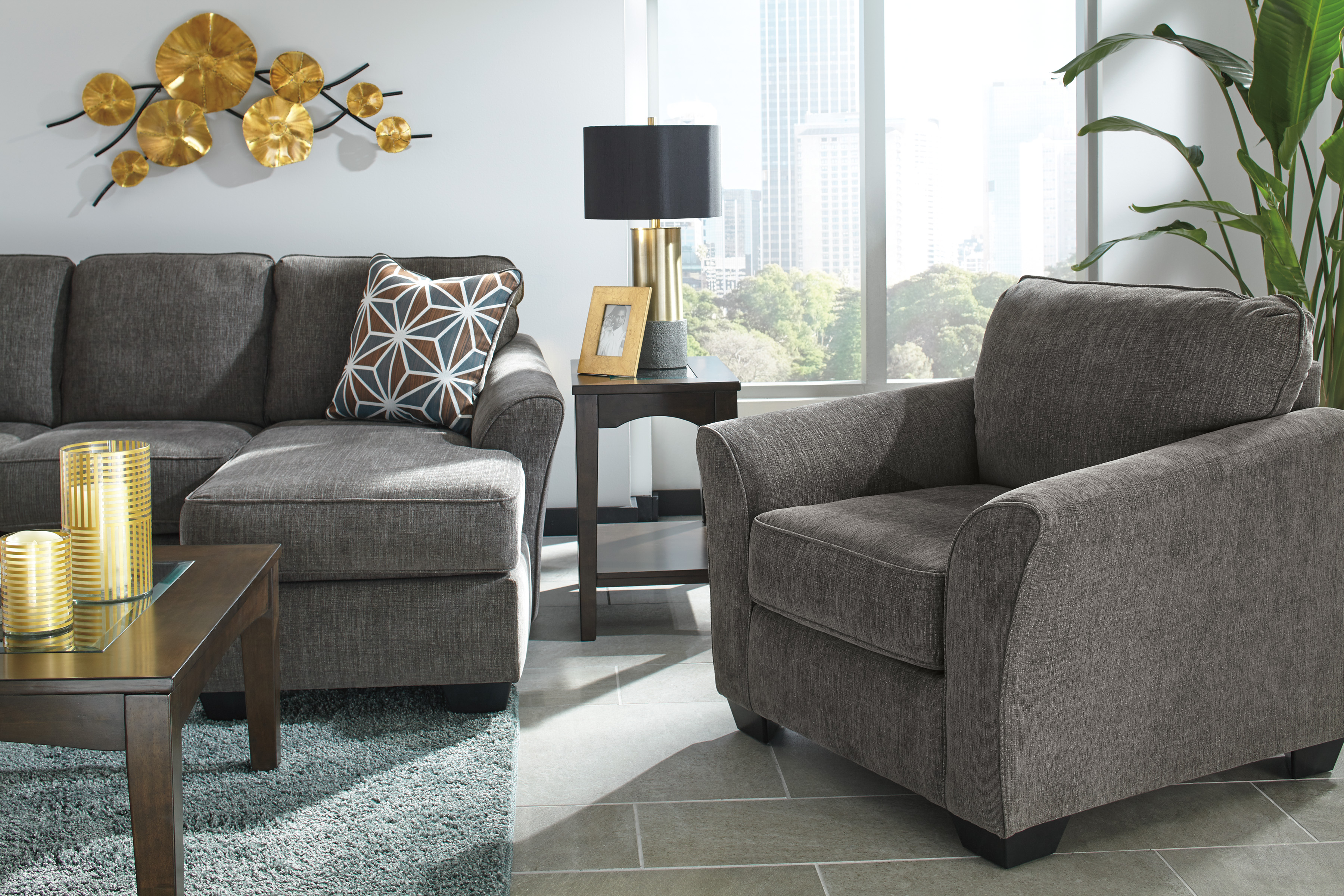Brise Sofa Chaise In Slate Sofas And