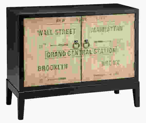 Station Aged Sign Motif Accent Cabinet