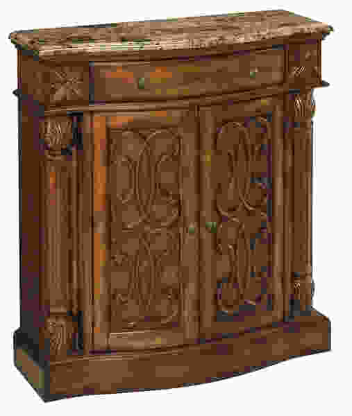 William Aged Pecan w/Brown Calico Marble Accent Cabinet