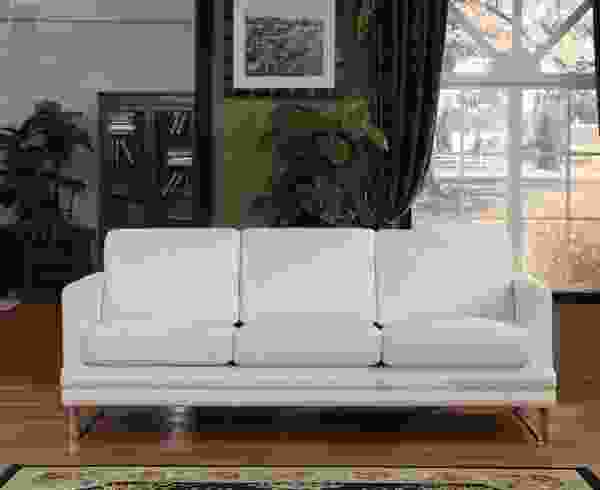 Melbourne 1003 Leather Sofa Collection in White - IN STOCK FAST FREE SHIPPING