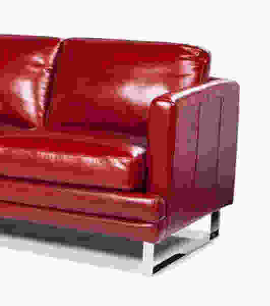 Melbourne 1003 LSF Chaise Leather Sectional in Berry Red -  IN STOCK FAST FREE SHIPPING