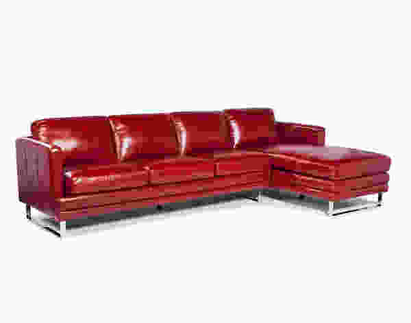 Melbourne 1003 RSF Chaise Leather Sectional in Berry Red - IN STOCK FAST FREE SHIPPING