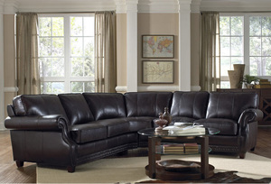 Anna 1317 Leather Sectional In Vintage Buckeye   IN STOCK FAST FREE  SHIPPING. By Lazzaro