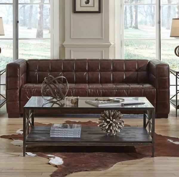 Delightful Nautical 1318 Leather Sofa In Cocoa Brompton   IN STOCK FAST FREE SHIPPING