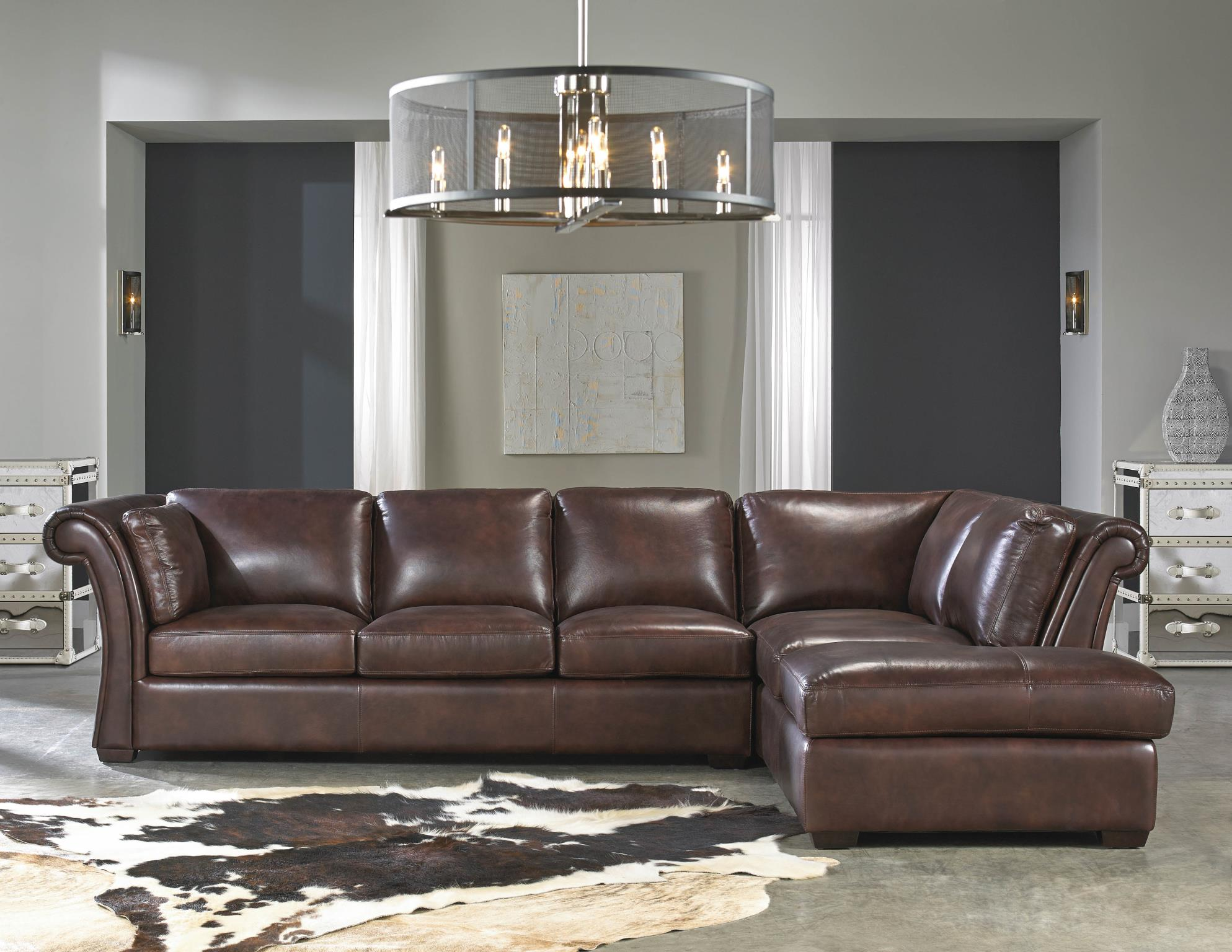 Delightful Angelina 1437 RSF Chaise Leather Sectional