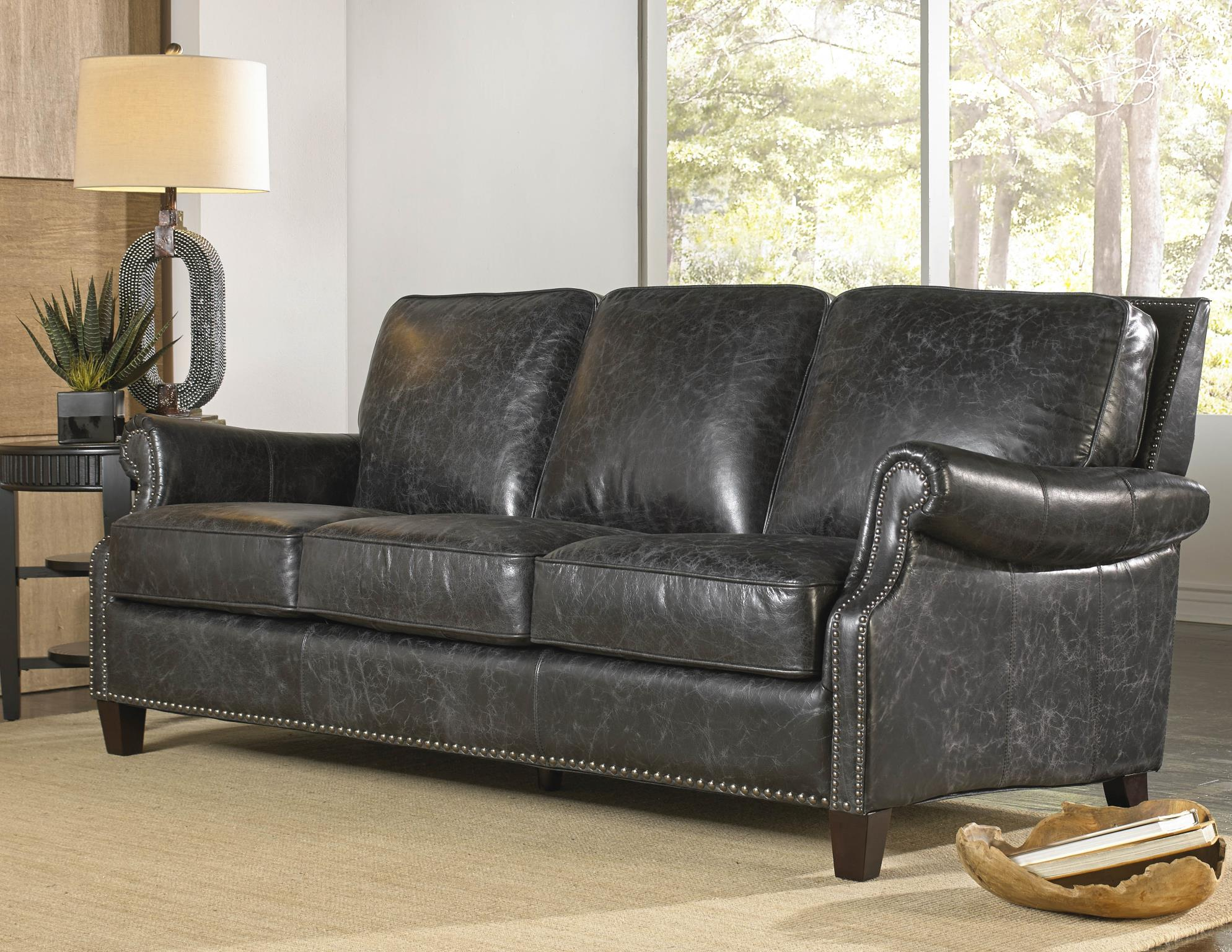 Nathan 1441 Leather Sofa In Vintage Charcoal   IN STOCK FAST FREE DELIVERY