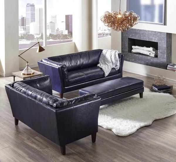 Merveilleux Alberta 1525 Top Grain Leather Sofa In Navy