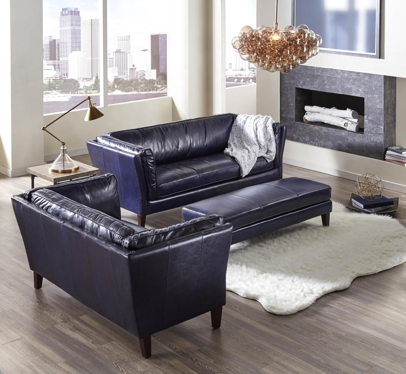 Alberta 1525 Top Grain Leather Sofa in Navy | Sofas and Sectionals