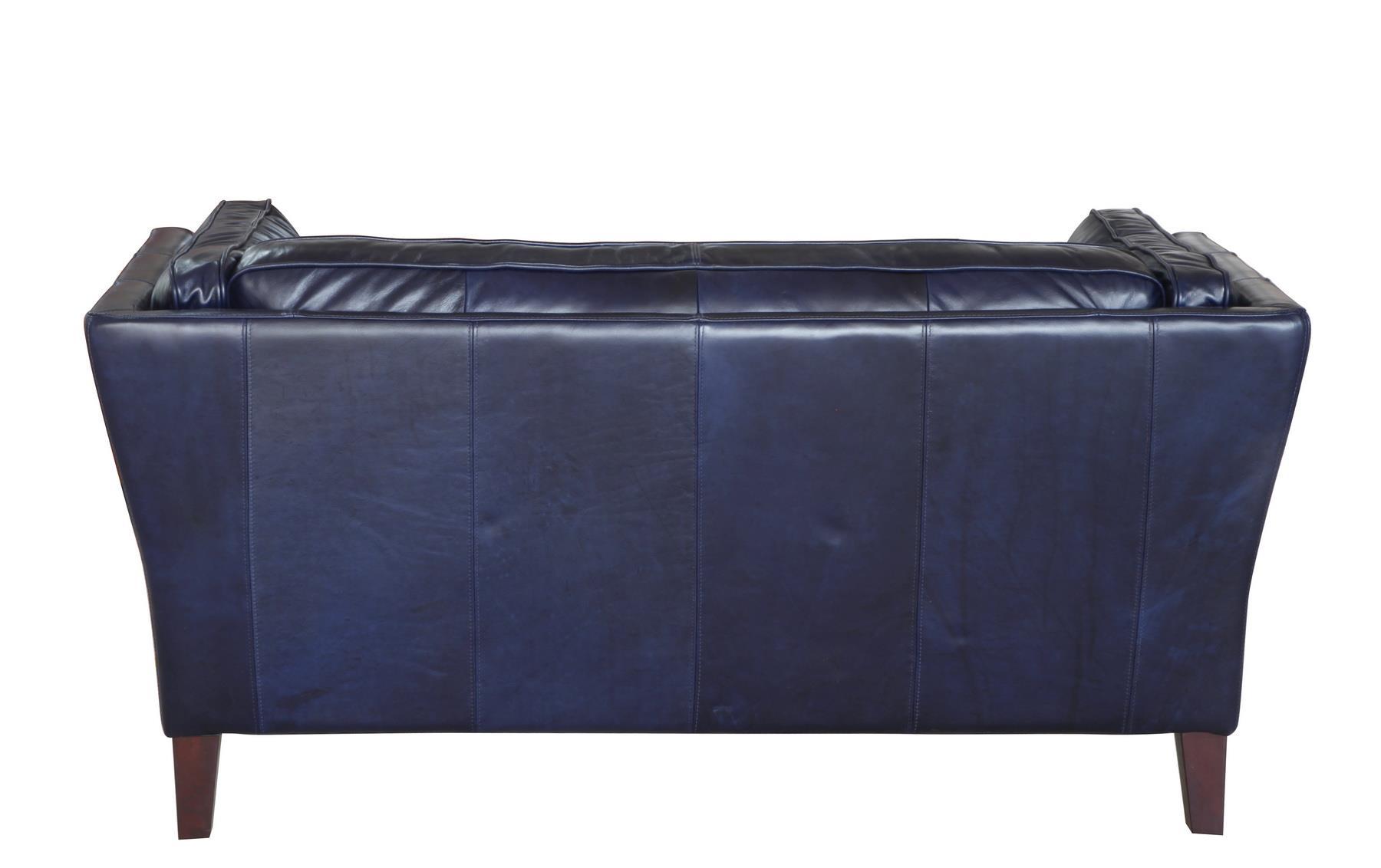 Alberta 1525 Top Grain Leather Sofa in Navy