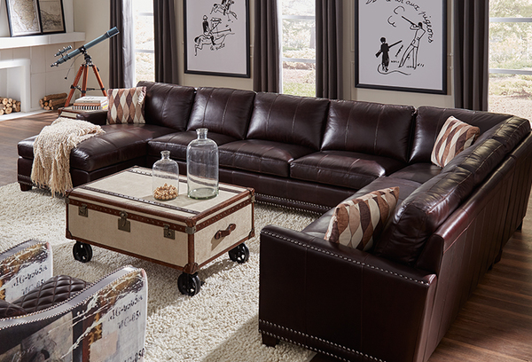 Bozeman 1561 Leather Sectional In Dark Chocolate   IN STOCK FAST FREE  DELIVERY