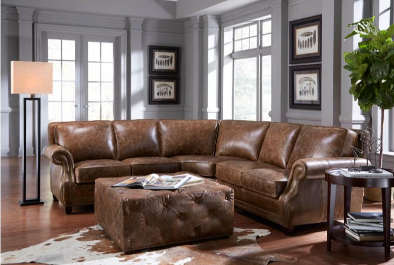 Terrific Prato 5070 Leather Sectional In Cocoa Brompton Sofas And Inzonedesignstudio Interior Chair Design Inzonedesignstudiocom