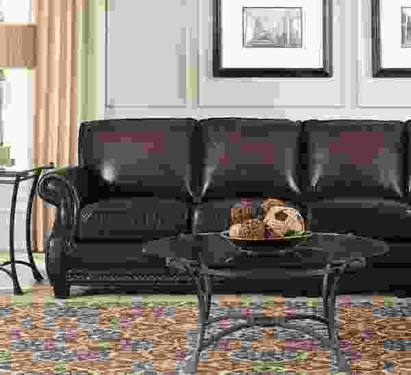 Prato 5070 Leather Sectional in Black and Tan