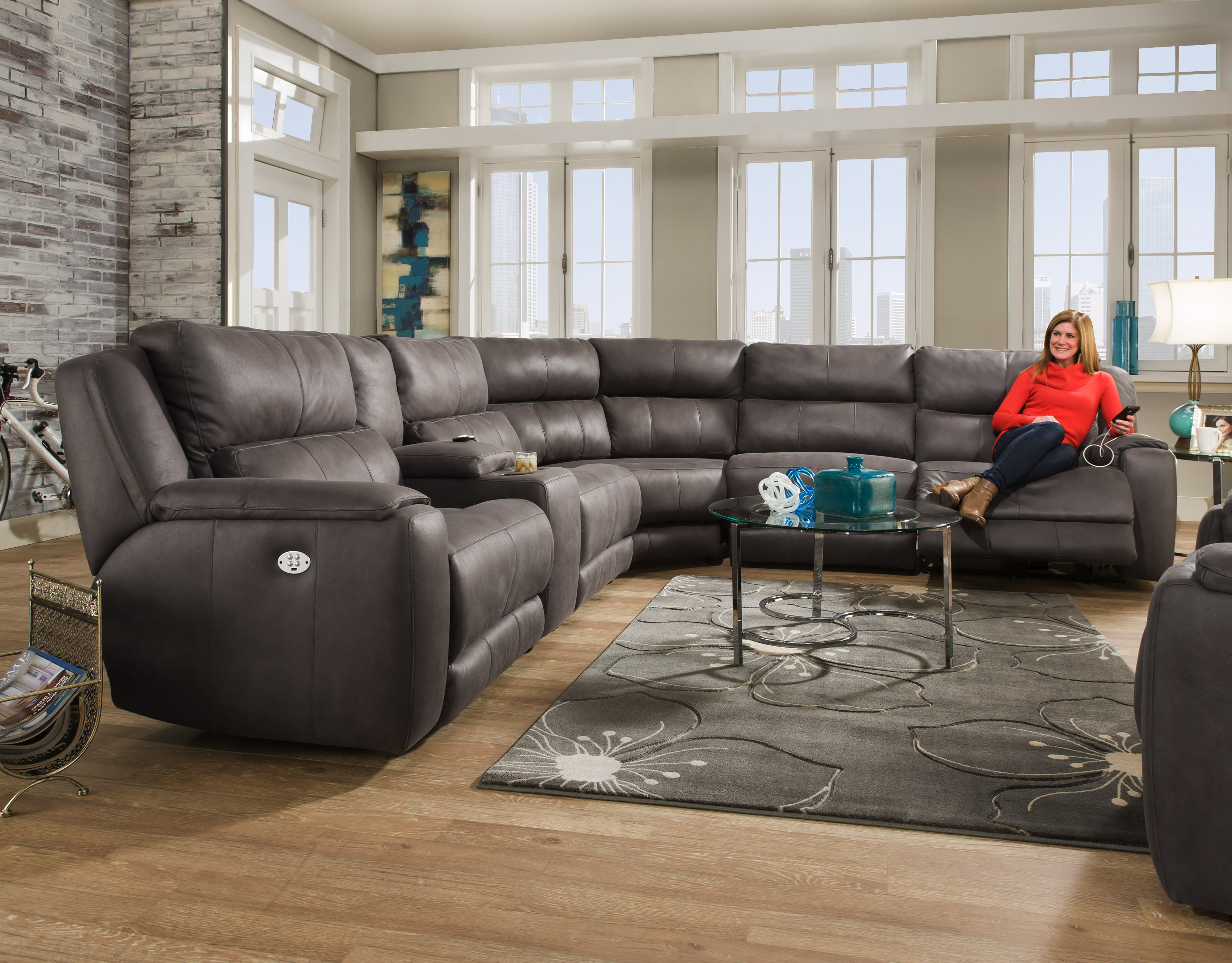 Dazzle Reclining Sectional W Headrest Option By Southern Motion