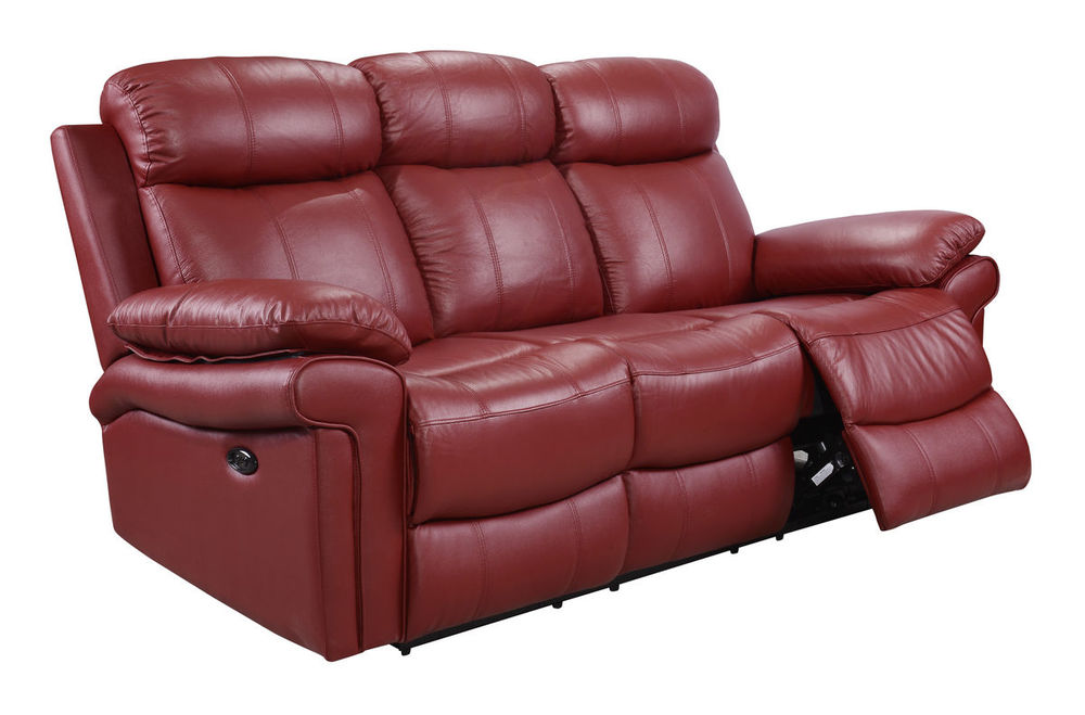 Joplin Power Leather Reclining Sofa in Red | Sofas and ...
