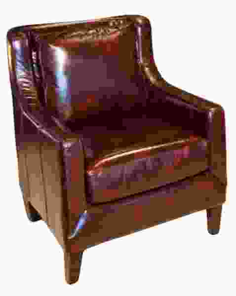 Java Top Grain Leather Accent Chair in Saddle