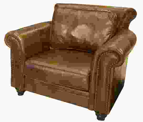 Paladia Top Grain Leather Accent Chair in Rustic
