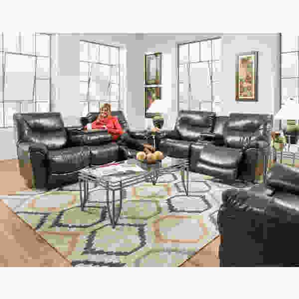 Calloway 457 Reclining Sofa in Black or Saddle