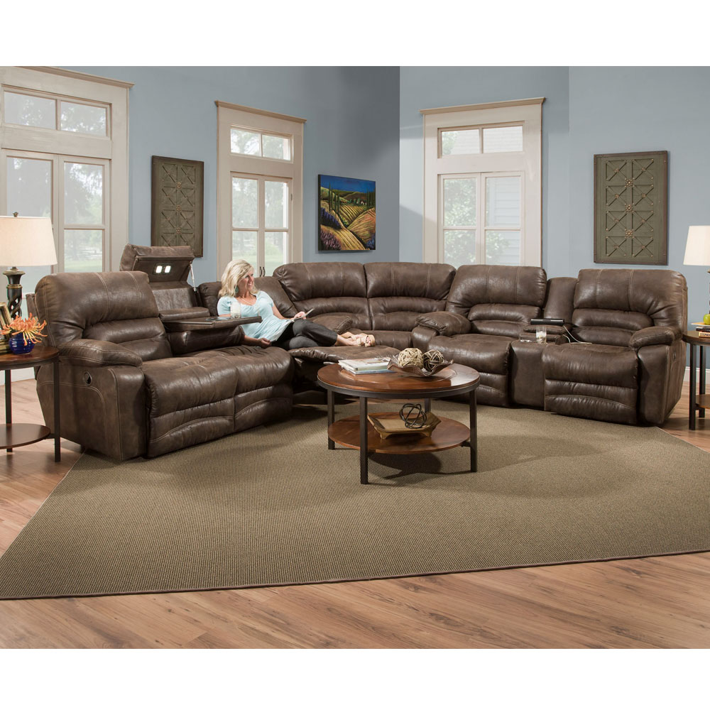Legacy 500 Reclining Sectional In Chocolate Or Titanium