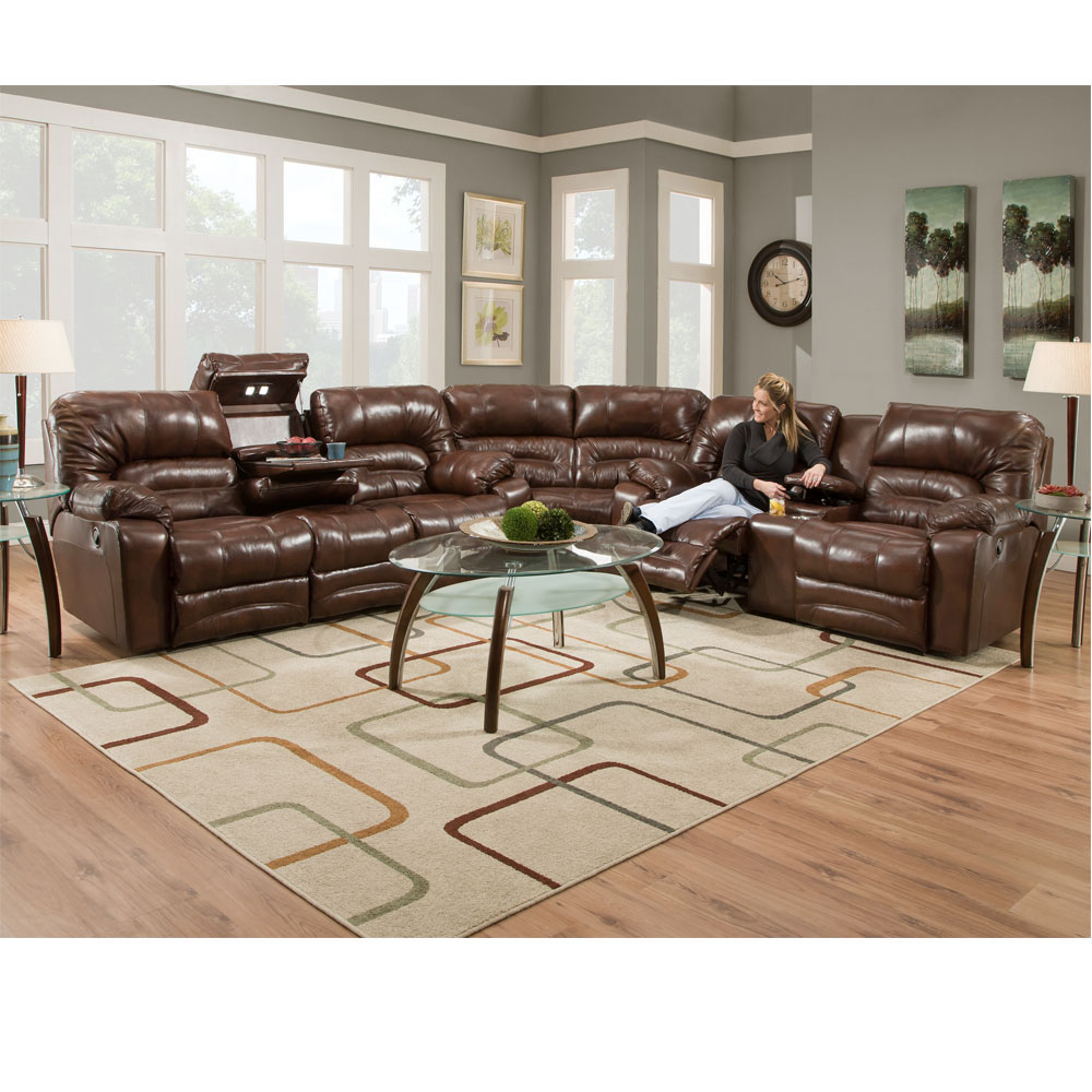 legacy 500 leather reclining sectional in nevada brown or bellissimo pewter