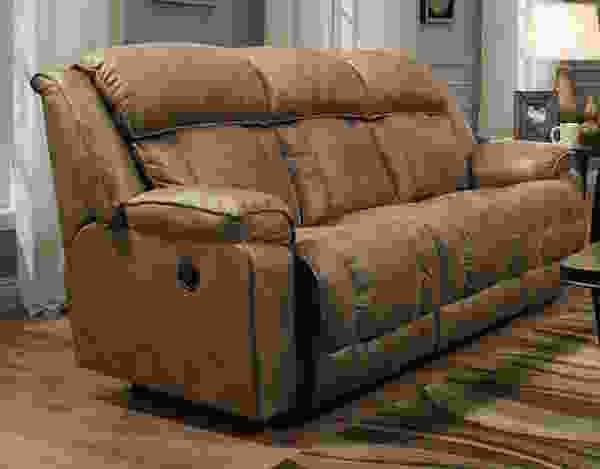 Marshall 717 Reclining Sofa in Mink or Camel Fabric