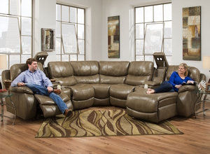 admiral 705 leather reclining sectional in platinum stone includes chaise power headrest