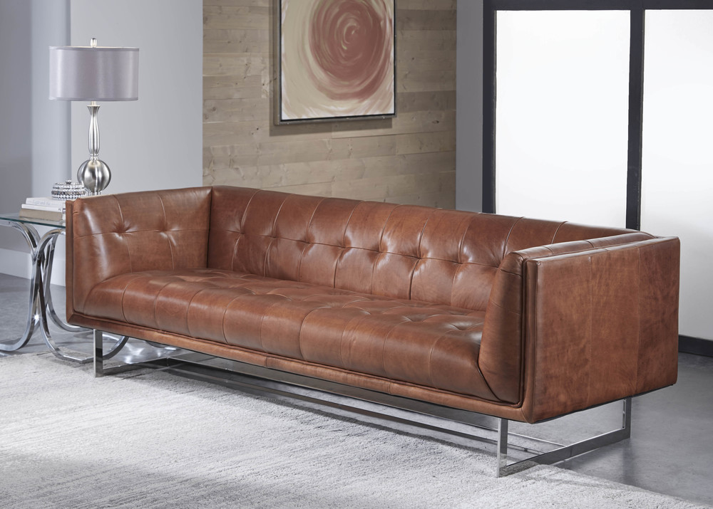 Teague 1440 Leather Sofa In Vintage, Lazzaro Furniture Reviews