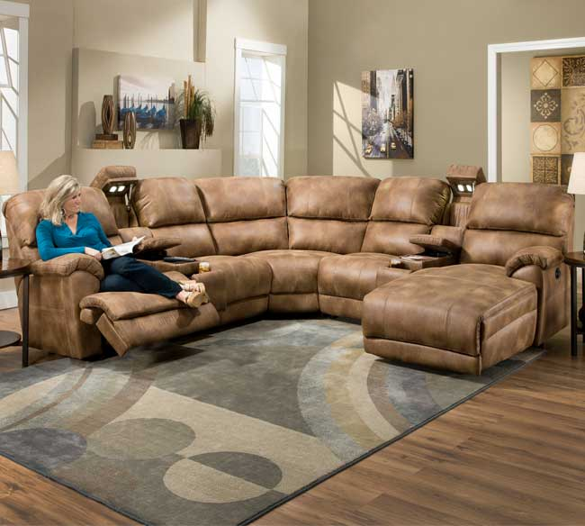 Superb Presley 572 Reclining Sectional In Almond