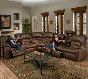 Dakota 596 Reclining Sectional In Smokey. By Franklin