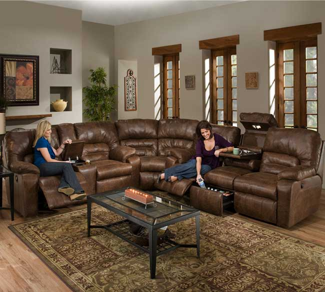 Beau Dakota 596 Reclining Sectional In Smokey