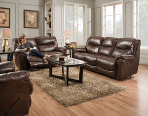 Calloway 457 Leather Match Reclining Sofa In Mahogany & Reclining | Sofas and Sectionals islam-shia.org