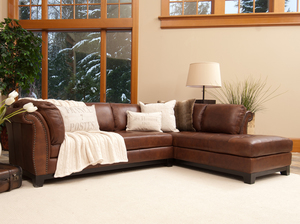 Corsario 2 Pc. Top Grain Leather Sectional In Burbon (Right Arm Facing  Chaise)