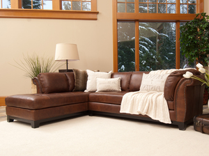 Corsario 2 Pc. Top Grain Leather Sectional In Burbon (Left Arm Facing Chaise )