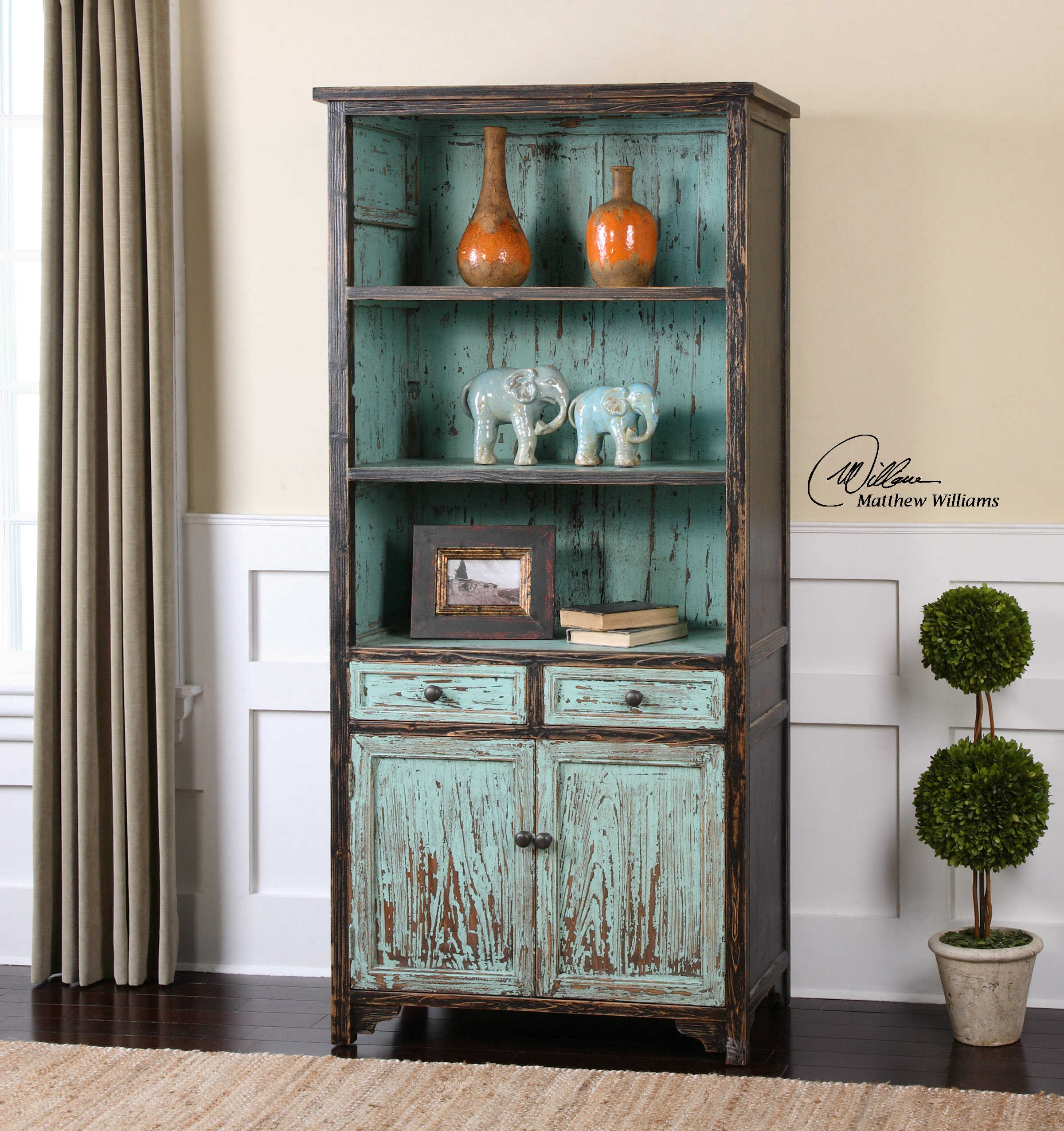 Uttermost Dunixi Distressed Bookcase 24414 Sofas And